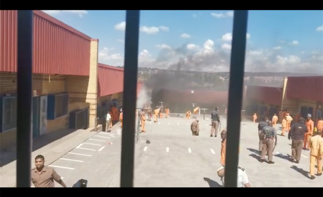 Prisoners burn mattresses in protest of strict lockdown regulations